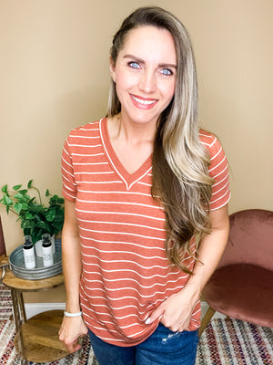 Amara Terry Striped Short Sleeve Top - Rust