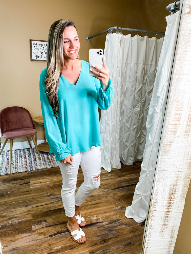 Madelyn V Neck Sleeve Detailing Top with Keyhole Back
