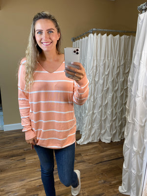 Brinley Striped V-Neck Sweater - Carrot