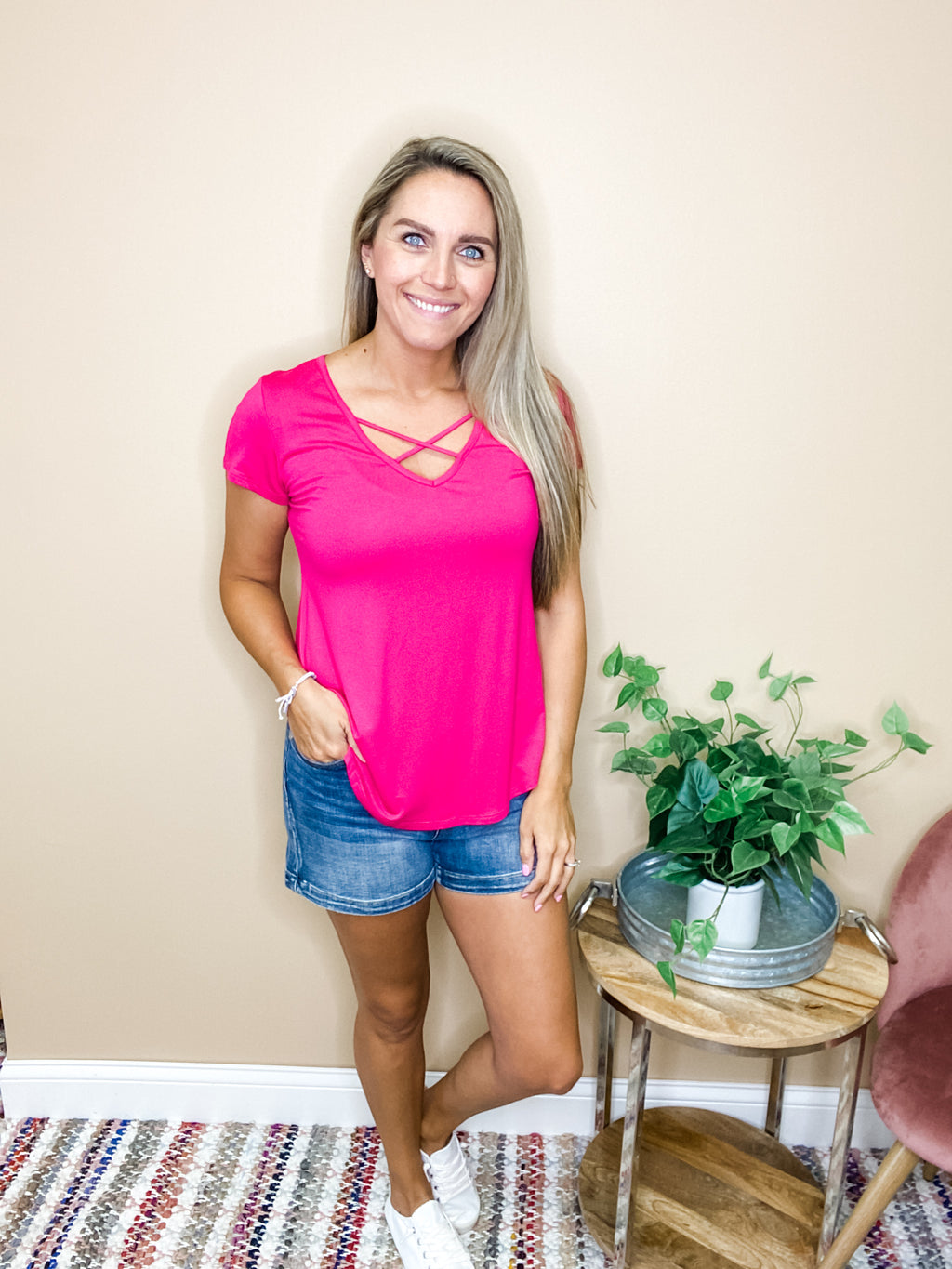 Piper Criss Cross Basic Top - Fuchsia