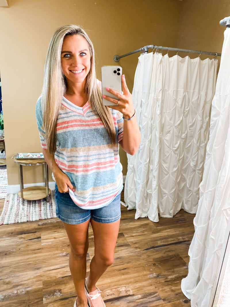 Aurora Loose Fit Striped V-Neck Top