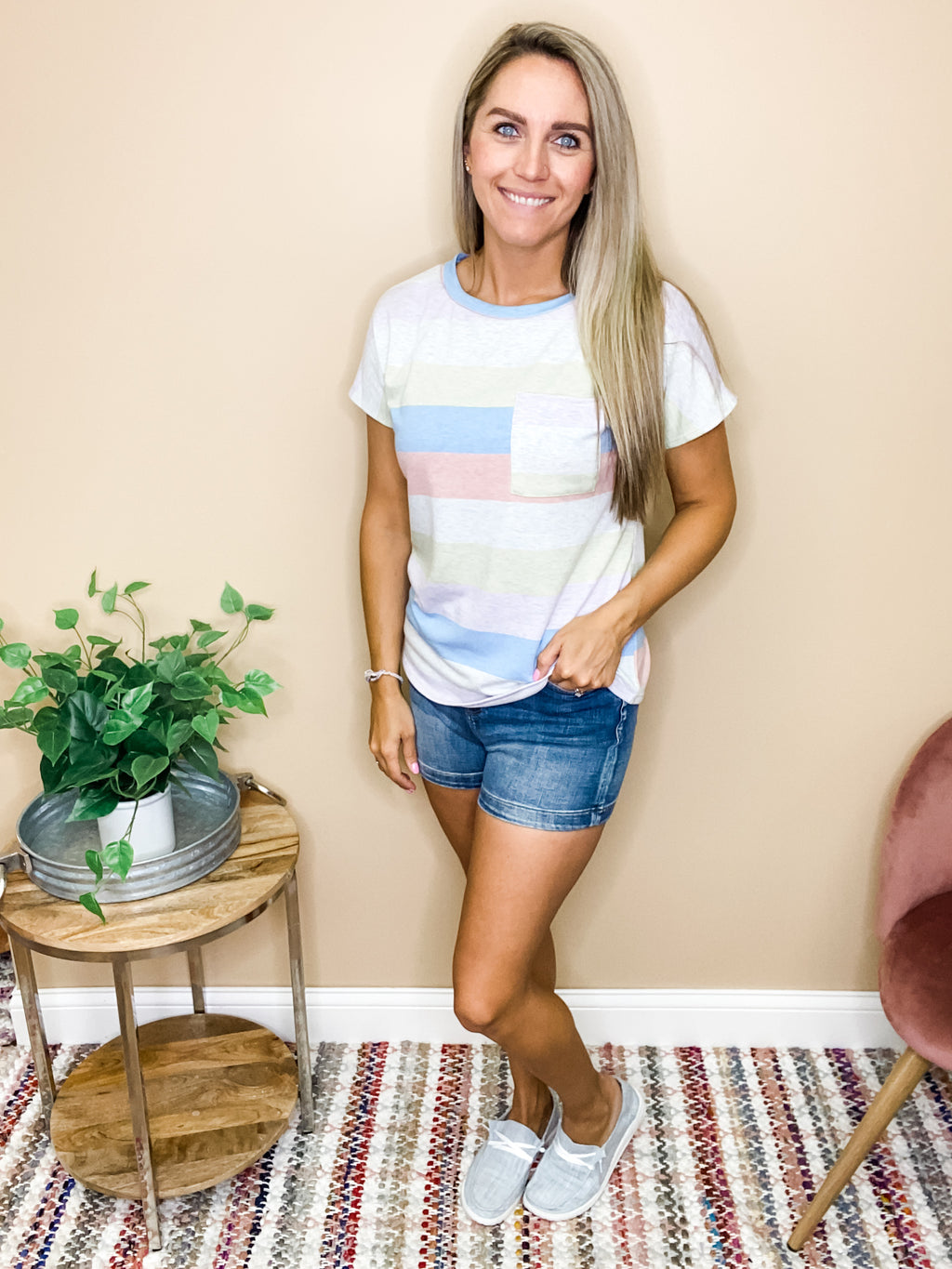Paisley Striped Top with Pocket Tee