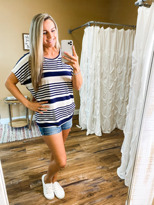 Gianna Striped Short Sleeve Top - Navy