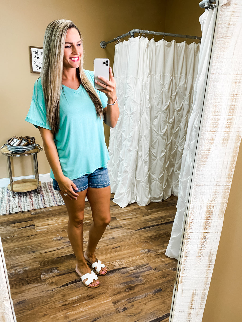 Willow Short Sleeve Basic V-Neck Top - Seafoam