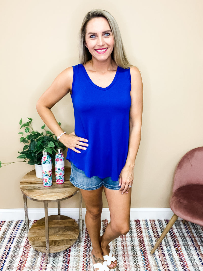 Aria Casual V-Neck Tank Top - Royal Blue