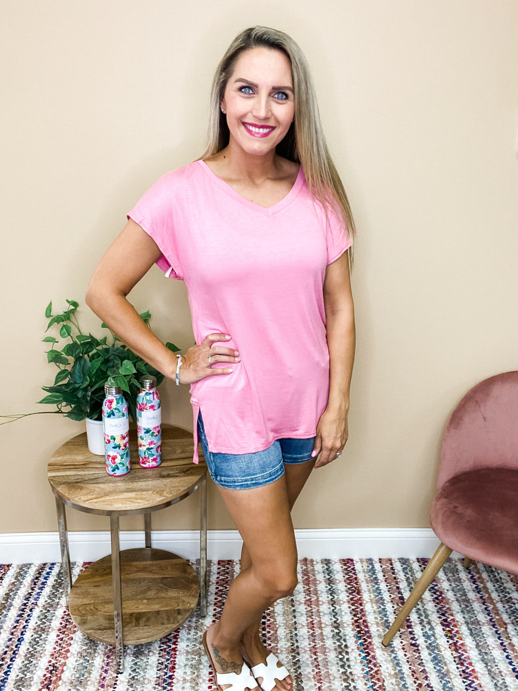Penelope Short Sleeve V-Neck Top - Rose