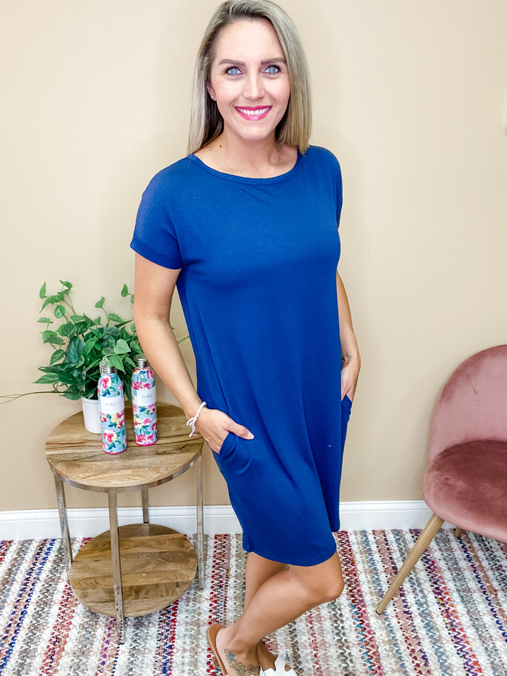 Harper Basic Short Sleeve Round Neck Dress with Pockets - Dark Navy