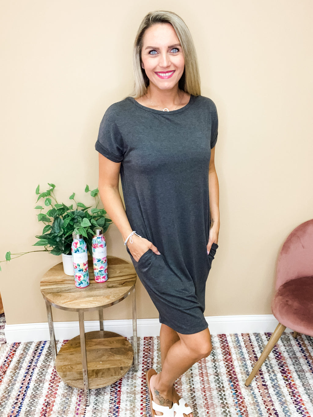 Harper Basic Short Sleeve Round Neck Dress with Pockets - Charcoal