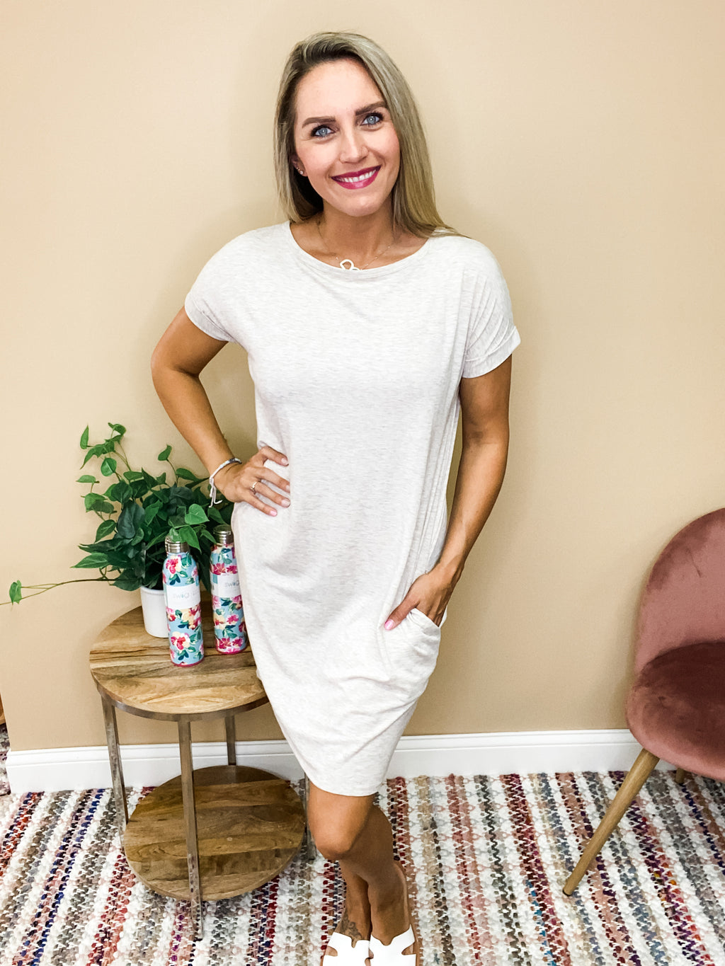 Harper Basic Short Sleeve Round Neck Dress with Pockets - Oatmeal