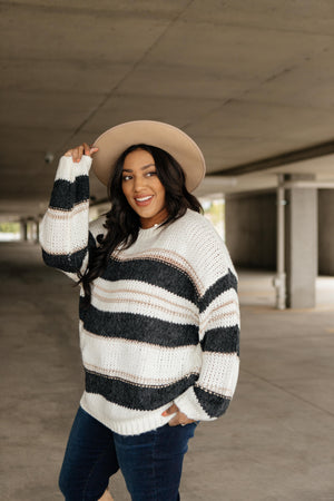 Straightforward Striped Sweater In Ivory and Black