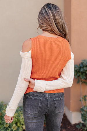 The Ellie Drop Shoulder Top in Pumpkin