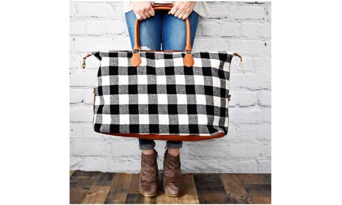 Buffalo Plaid Weekender Bag - White
