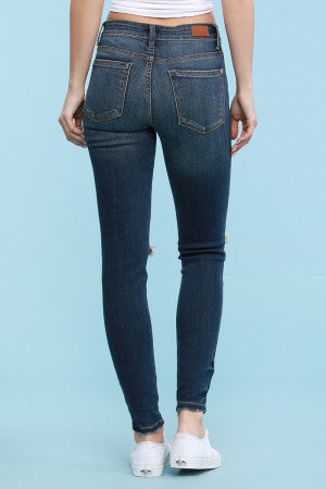 Shopia Destroyed Skinny Jeans with Hem Detailing