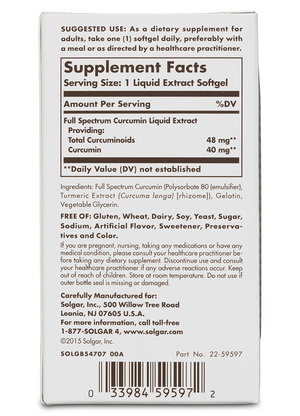 Solgar Full Spectrum Curcumin Liquid Extract Softgels