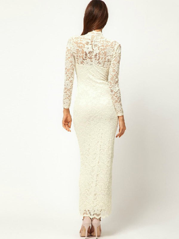 Long Length Lace V-Neck Maxi Long Dress For Women