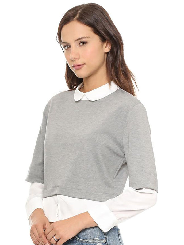 Doll Collar Solid Three Quarter Sleeve Women Sweater