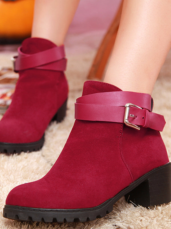 Buckle Solid Design Heeled Ankle Boots For Women