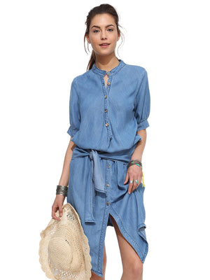 Collarless High Low Hem Denim Shirt With Sash
