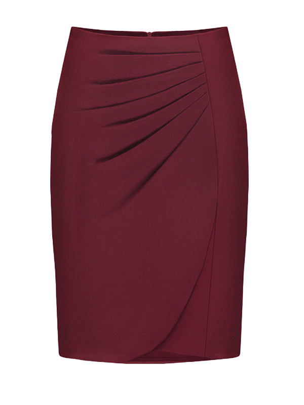 Women's Skirt Solid Color Pleated Slim Midi Bodycon Skirt