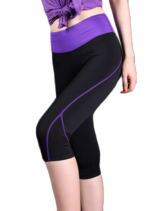 High Waist Compression Colorblock Capris