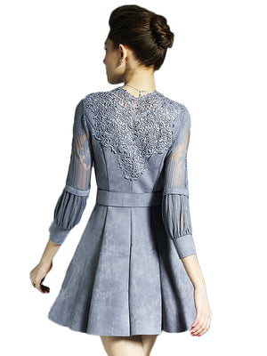 Puff Sleeve Lace Patchwork Dress With Sash