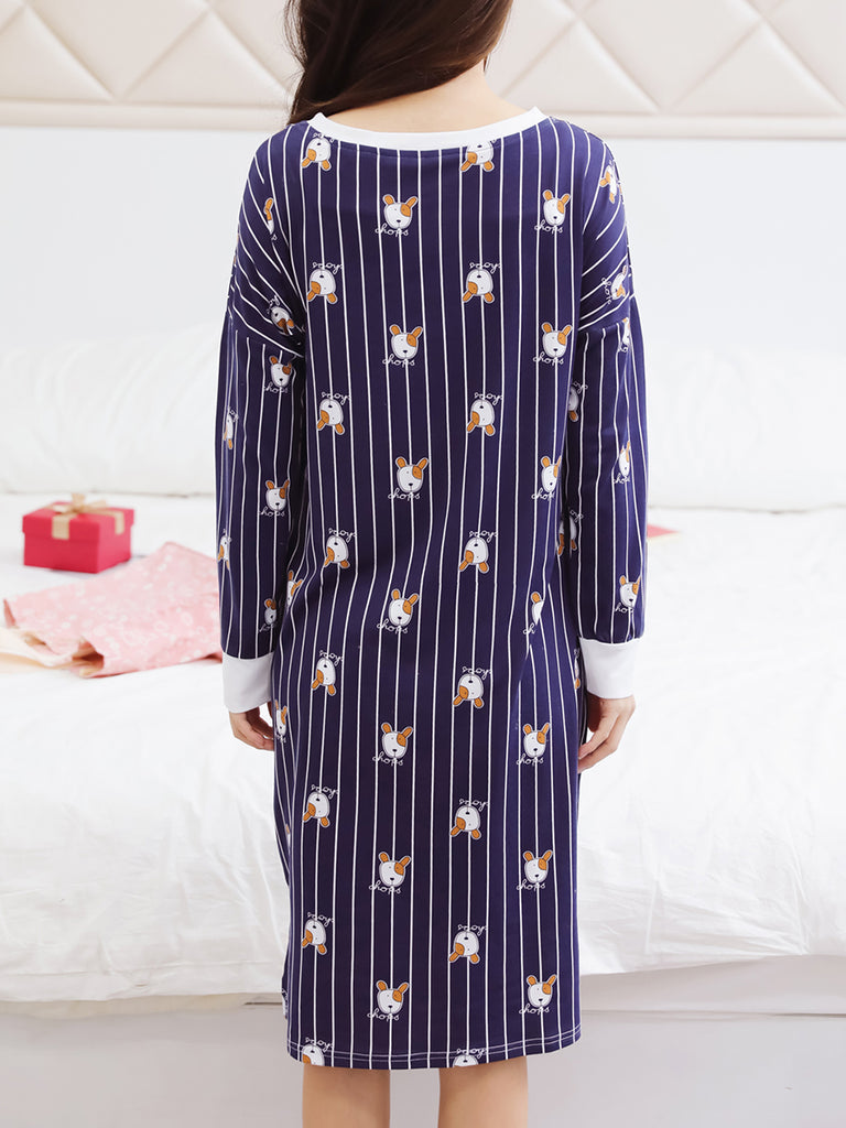 Women's Pajamas Unique Cute Cartoon Dogs Pattern Long Sleeve Night Dress