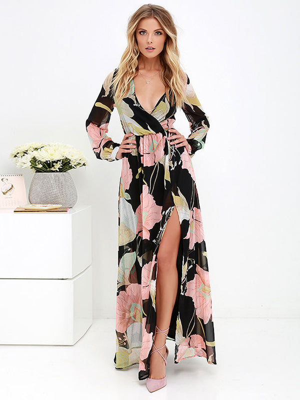 High Split Floral V Neck Maxi Long Dress