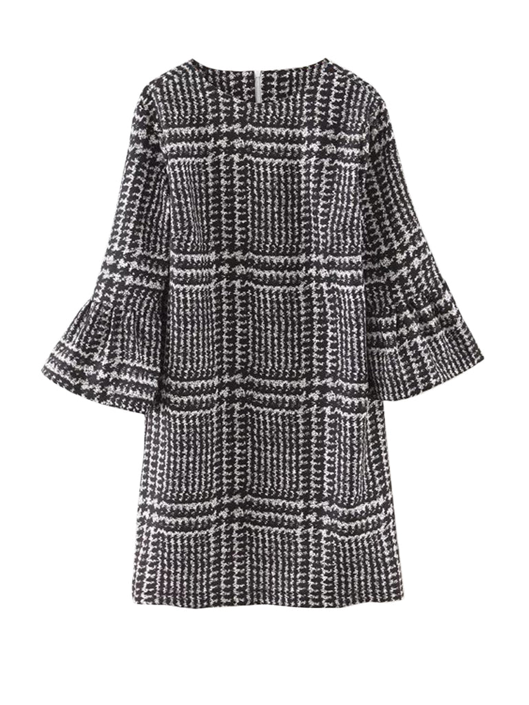Houndstooth Flared Sleeve Mini Dress