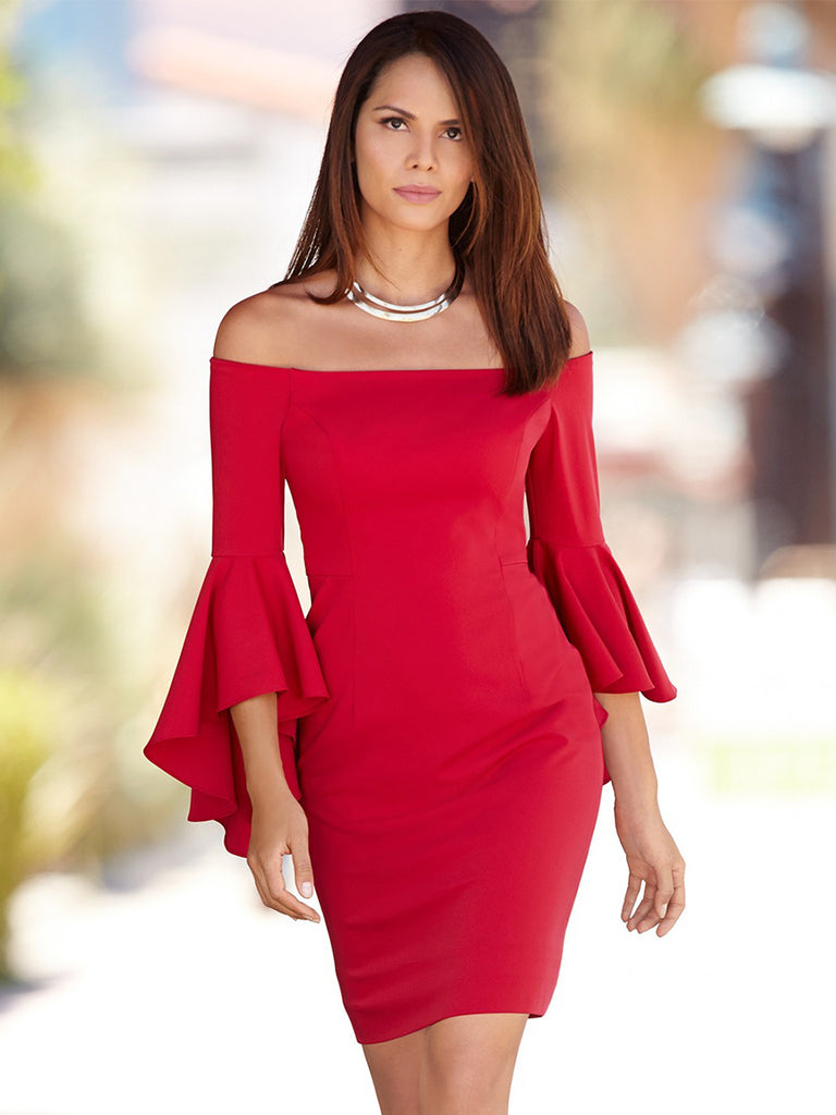 Women's Sheath Dress Sexy Style Ruffled Sleeve Off Shoulder Dress