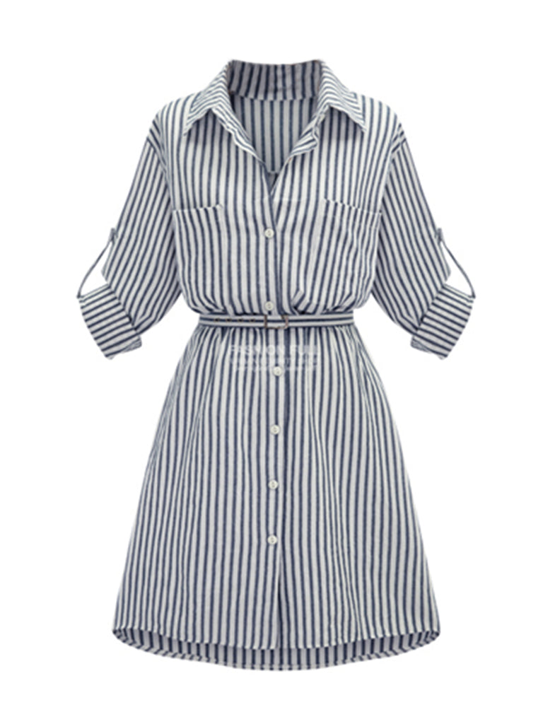 Women's Dress Stripe Plus Size Midi Dress
