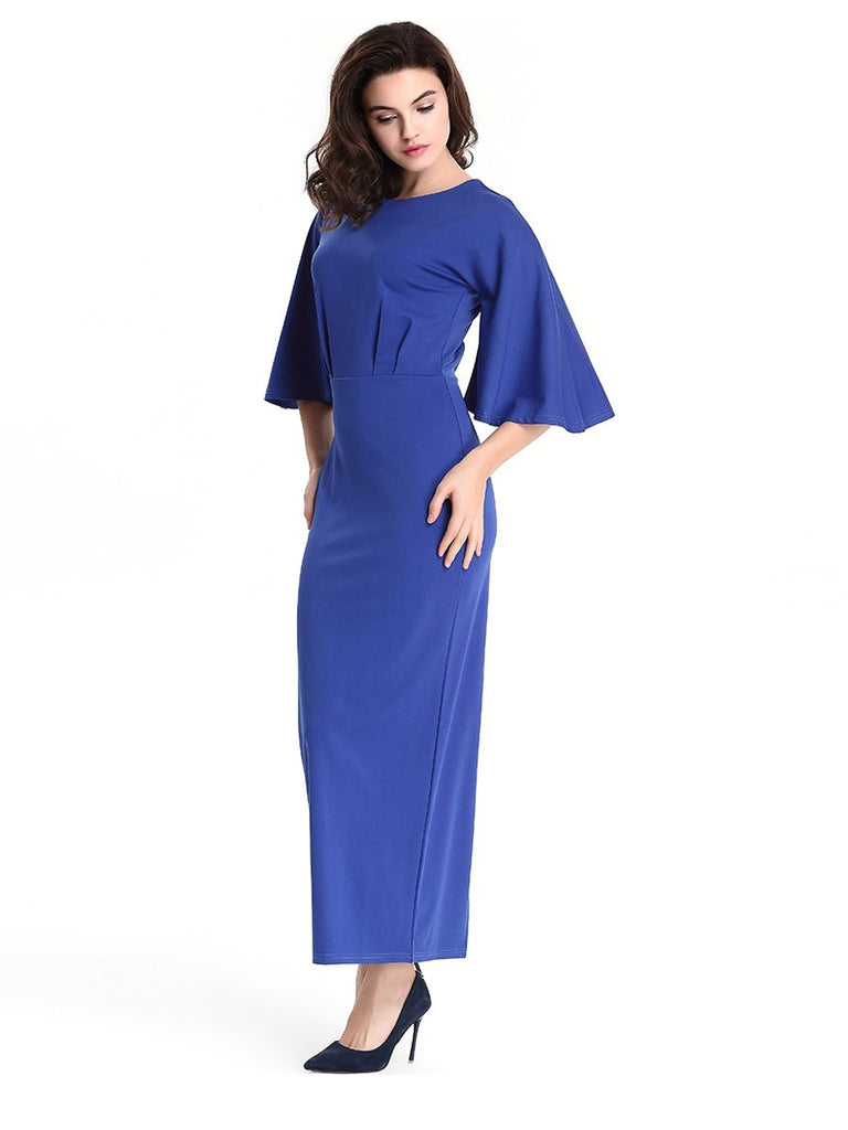 Celebrity Style Women's Sheath Dress Ruffle Sleeve Maxi Long Dress