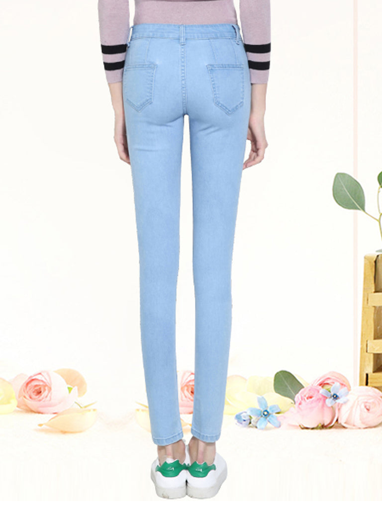 Women's Jeans High Waist Elastic Solid Slim Thin Pencil Pants