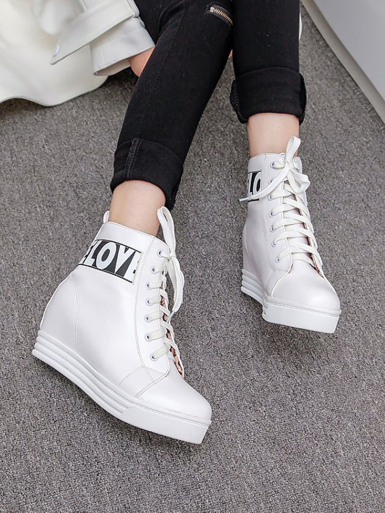 Women's Ankle Boots Casual Letter Print Invisible Heel Strappy Preppy Boots