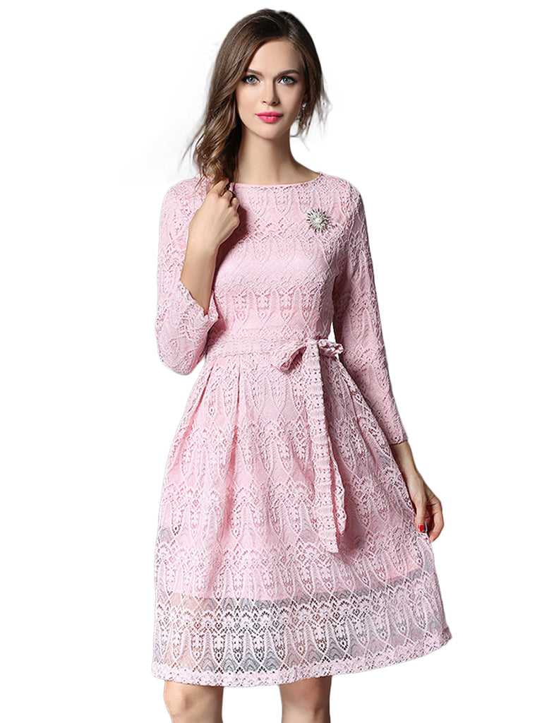 Women's Dress Long Sleeve O Neck A Line Lace Dress