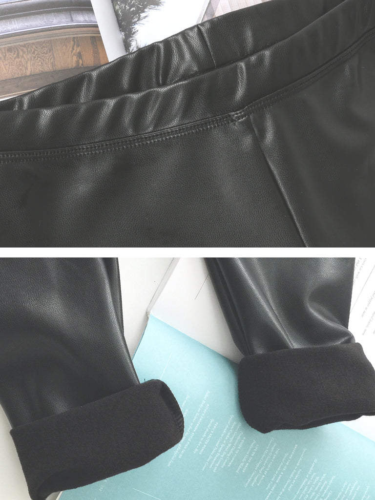 Women's Legging PU Leather Solid Cropped Leggings
