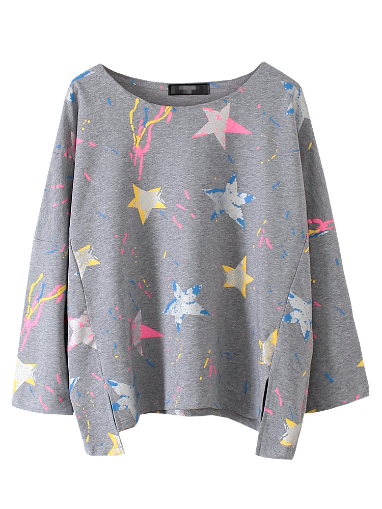 Women's Sweatshirt High Low Hem Split Print Sweatshirt