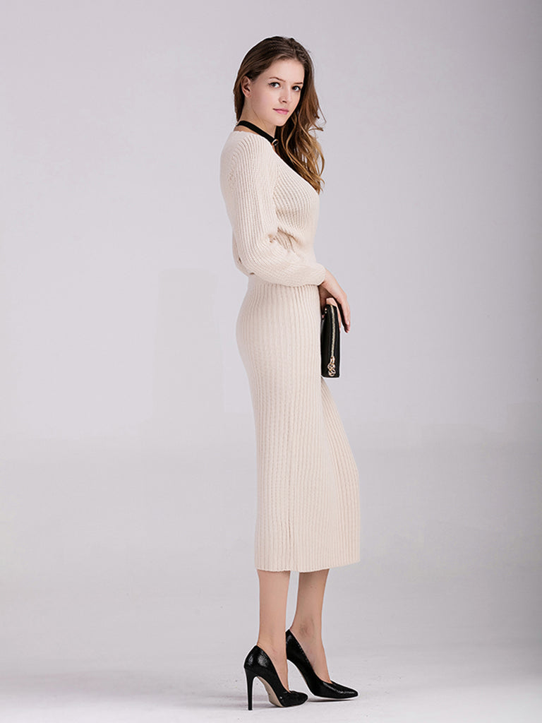 Women's Skirt Suits V Neck Top Midi Skirt Suits