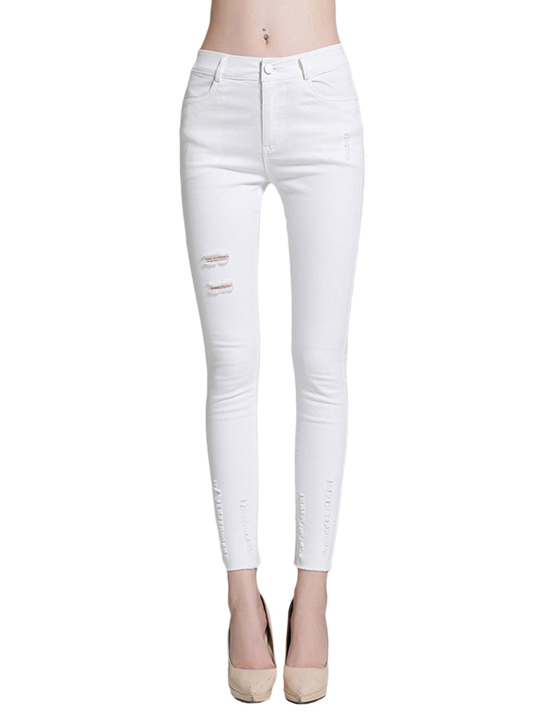 Women's Pants Mid Waist Hole Design Solid Color Casual Skinny Pants