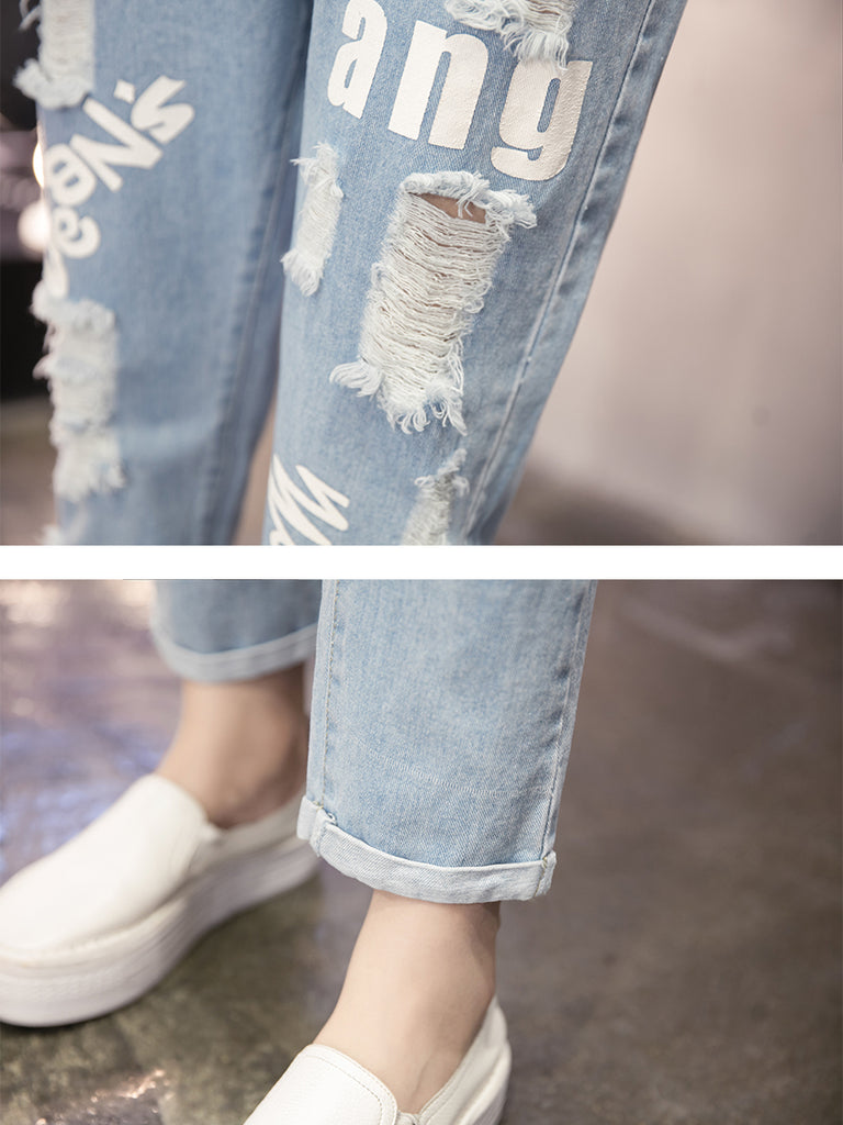 Women's Jeans Letter Fashion Hole Casual Harem Jeans