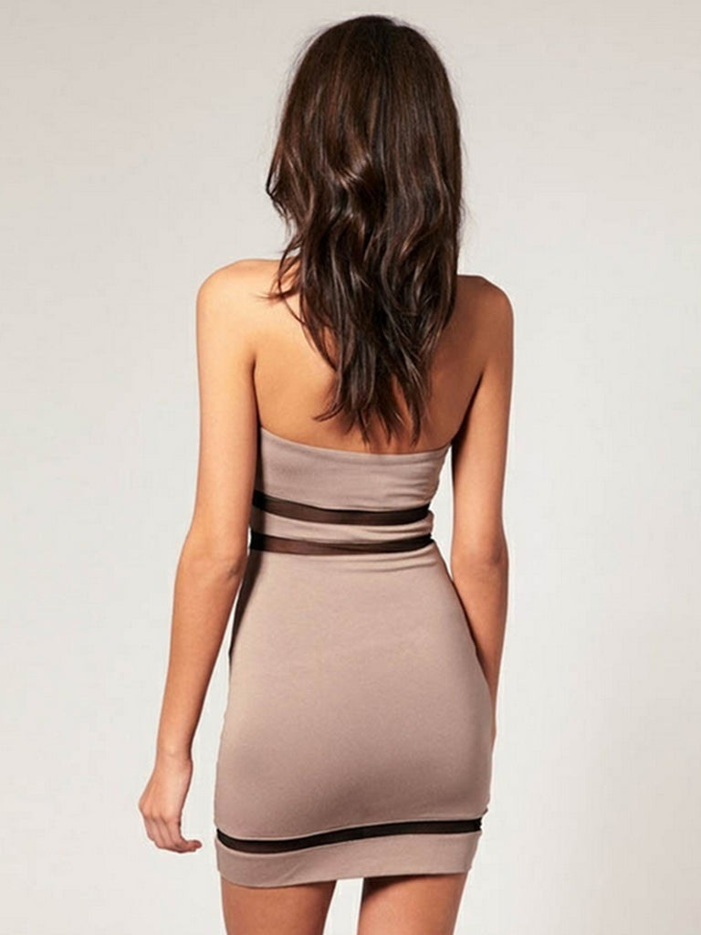 Women's Dress Strapless Hollow Out Sold Color Sexy Style Mini Sheath Dress