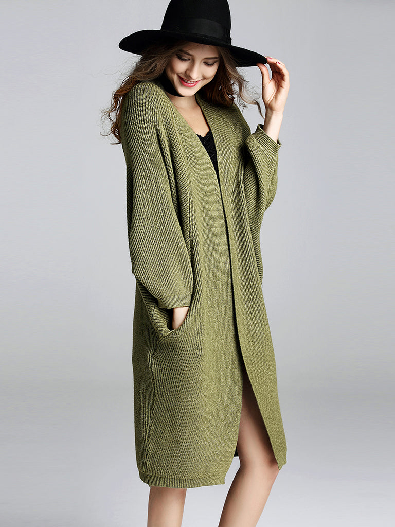 Women's Cardigan Open Front Batwing Sleeve Loose Solid Long Knitwear