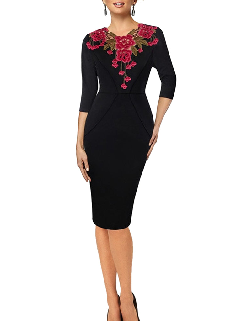 Women's Sheath Dress V Neck Three Quarters Sleeve Lace Patchwork Dress