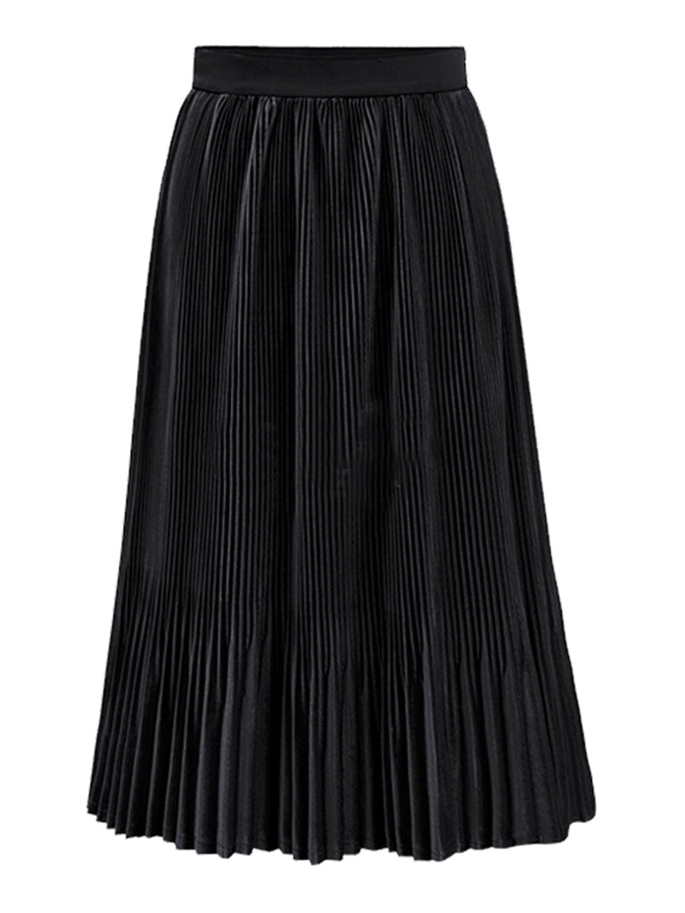 Women's Skirt Solid Color Elastic Waist A Line Pleated Skirt