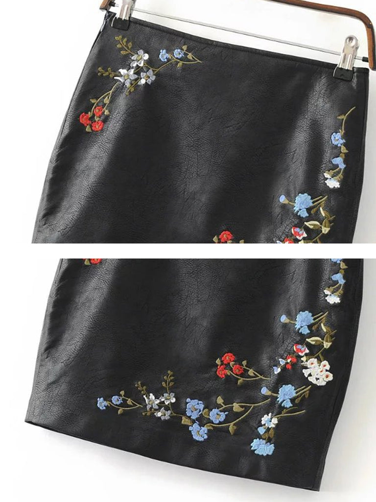 Women's Skirt PU Leather Embroidery Zippered Bodycon Fashion Mini Skirt