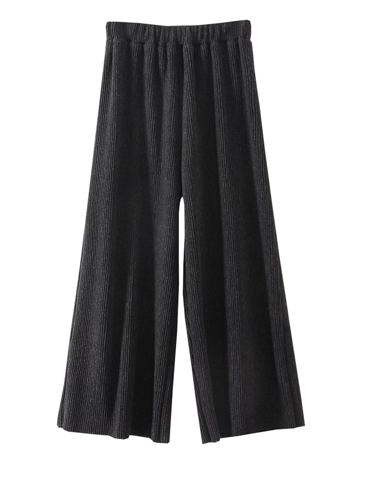 Women's Pants Elastic Waist Solid Color Cropped Wide Leg Pants