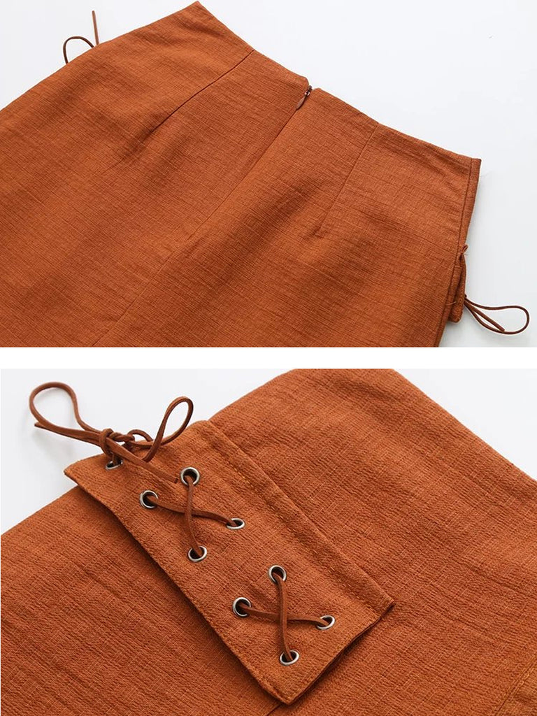 Women's Skirt Solid Color Pocket Casual Skirt
