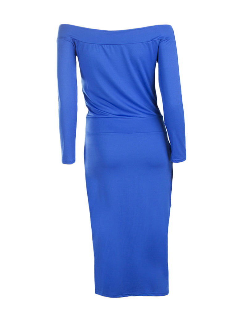 Women's Sheath Dress Slash Neck Solid Sexy Dress