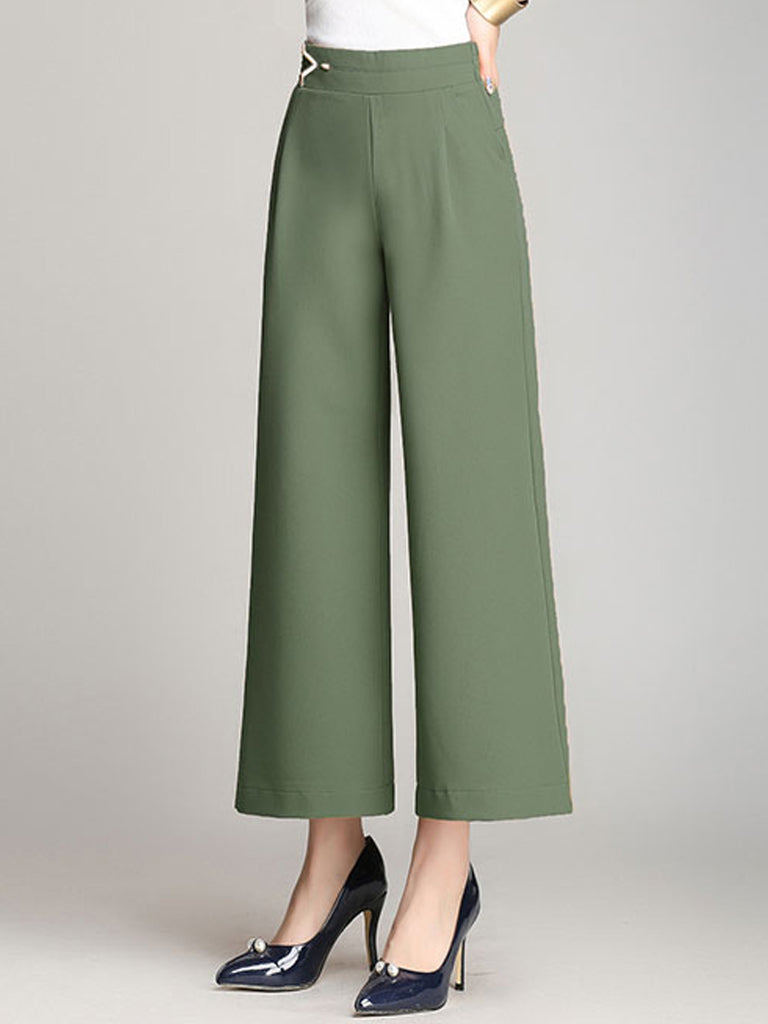 Women's Pants High Waist Solid Color Cropped Wide Leg Pants