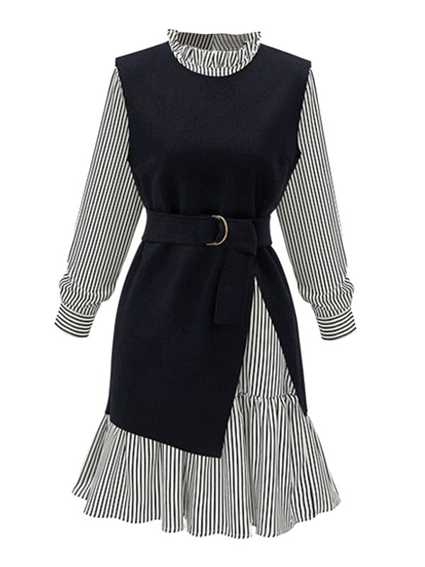 Women's Dress Suits Plus Size Stand Collar Stripe Dress