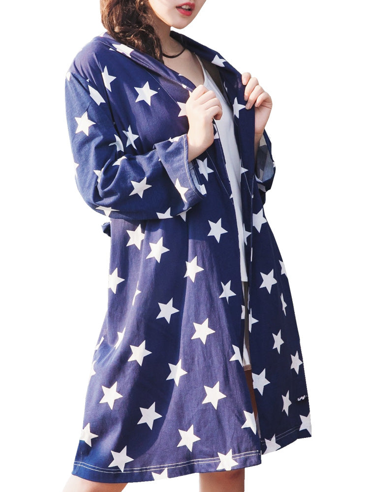 Women's Robe Sweet Starry Sky Pattern Simple Leisure Soft Sleepwear
